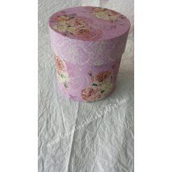 Doboz virágmintával, rózsaszín, nagy, köralakú