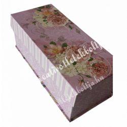 Doboz virágmintával, rózsaszín, nagy, hosszúkás