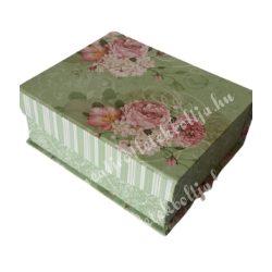 Doboz virágmintával, zöld,közepes