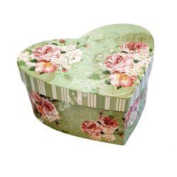 Szív alakú doboz virágmintával, nagy