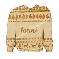 Egyedi feliratos karácsonyfadísz, skandináv pulóver