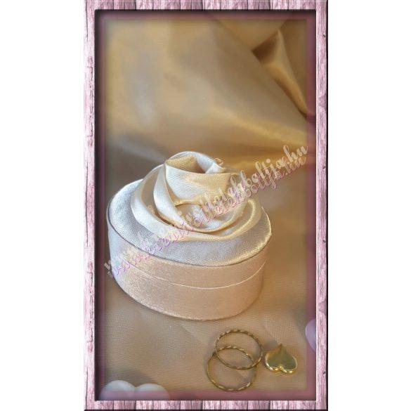 Ékszertartó doboz, szatén, bézs színű