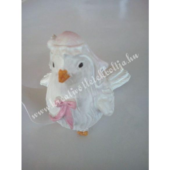 Fehér galamb, lány, 5,5x6,5 cm