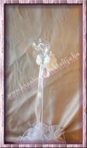Akril szív szatén rózsákkal pálcás dísz, 46 cm, 1 darab