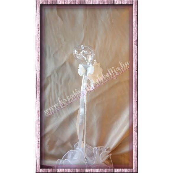 Pálcás akrilszív szaténrózsákkal, 46 cm