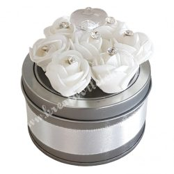 Szaténnal és strasszal díszített rózsás fémdoboz, 1 darab