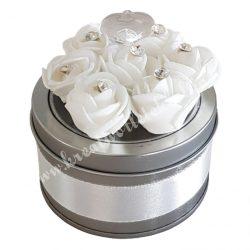 Szaténnal és strasszal díszített rózsás fémdoboz