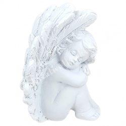 Polyresin angyal, bal kezén fekvő, fehér, 4x5,5 cm