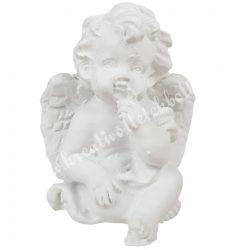 Polyresin ülő angyal, gondolkodó, 3,5x4,5 cm