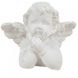 Polyresin könyöklő angyal, merengő, 3,5x4 cm