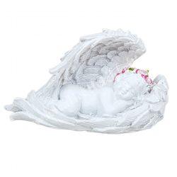 Polyresin angyal, bal kezén fekvő, 6,5x4 cm