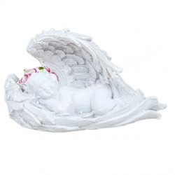 Polyresin angyal, jobb kezén fekvő, 6,5x4 cm