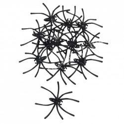 Műanyag pók, fekete, 4,5x5 cm, 12 db/csomag