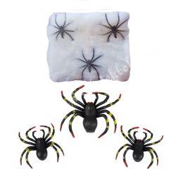 Fehér pókháló pókokkal