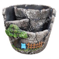 Kaspó szikla mintával, szürke, 13,5x10,5 cm