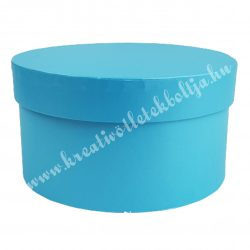 Papírdoboz, kerek, kék, 17x9 cm