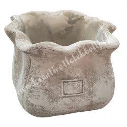 Kerámia kaspó, zsák, antikolt szürke, 14x10 cm