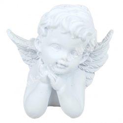 Polyresin angyal, ábrándozó, fehér, 7x6,5 cm
