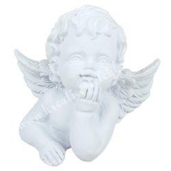 Polyresin angyal, gondolkodó, fehér, 7x6 cm