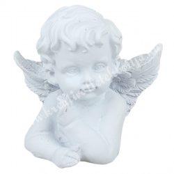 Polyresin angyal, kedves, fehér, 7x6,5 cm