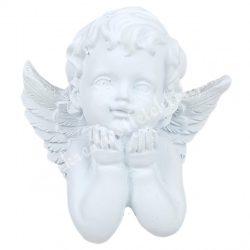 Polyresin angyal, könyöklő, fehér, 7x6,5 cm