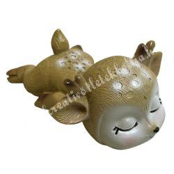 Polyresin őzike (bambi), alvó, barna pofival, 7x4 cm