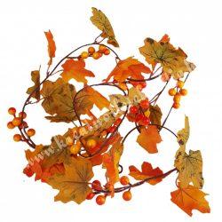 Őszi levélgirland bogyóval, narancssárga-zöld, 195 cm