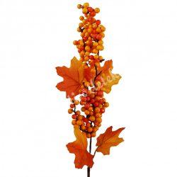 Beszúrós dísz, őszi pick bogyóval és levéllel, 14x73 cm