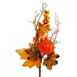 Beszúrós dísz, őszi pick bogyóval, levéllel és tökkel, 16x38 cm