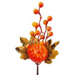 Beszúrós dísz, őszi pick bogyóval, levéllel és tökkel, 13x26 cm