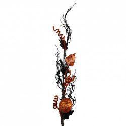 Halloweeni dekor ág tökkel és levéllel, 9x83 cm