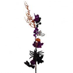 Halloweeni dekor ág tökkel és pókkal, 14x73 cm