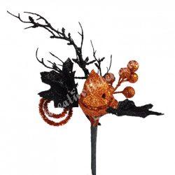 Halloweeni beszúrós dísz, pick, levéllel és tökkel, 15x29 cm