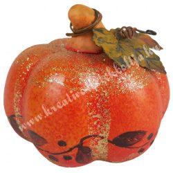 Kerámia tök, narancs, 8x8 cm