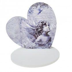 Fa szív, talppal, angyalos, 23x18 cm
