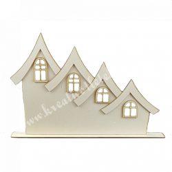 Fa, 4 lakásos ház, 3D-ben, talppal