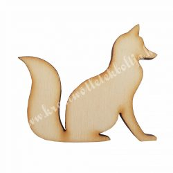 Fafigura, ülő róka, 5,3x4,5 cm