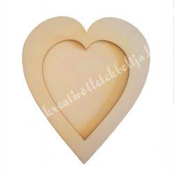Fa képkeret, szív, 11x10 cm