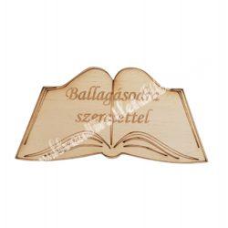 Fa nyitott könyv, Ballagásodra szeretettel, 8x4 cm