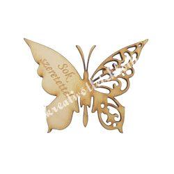 Fa pillangó, Sok szeretettel felirattal, 6x4,5 cm