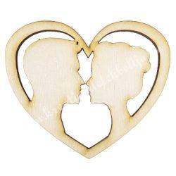 Fa szív, páros, 8x7 cm