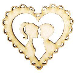 Fa szív, páros, 7x6,5 cm