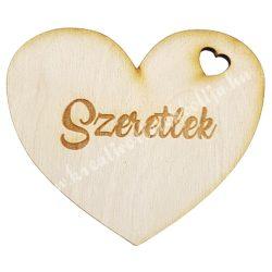 """Fa szív, """"Szeretlek"""" felirattal, 8x7 cm"""