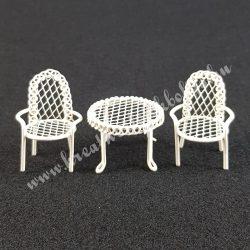 Fém asztal 2 székkel, törtfehér