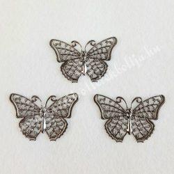 Fém díszítőelem pillangó, ólomszürke színű, 2,5x4 cm