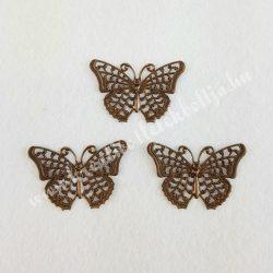 Fém díszítőelem pillangó, réz színű, 2,5x4 cm