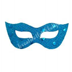 Flitteres dekorgumi maszk, kék, 6,5x3 cm