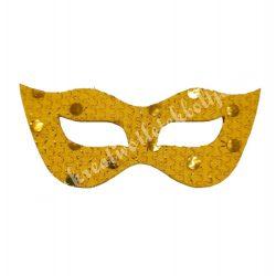 Flitteres dekorgumi álarc, sárga, 6,5x3 cm