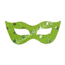Flitteres dekorgumi maszk, zöld, 6,5x3 cm