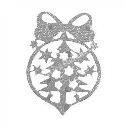 Flitteres dekorgumi fenyő gömbben, ezüst